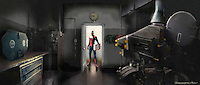 A nervous projectionist turns to see Spiderman at the door… with the film under his arm.