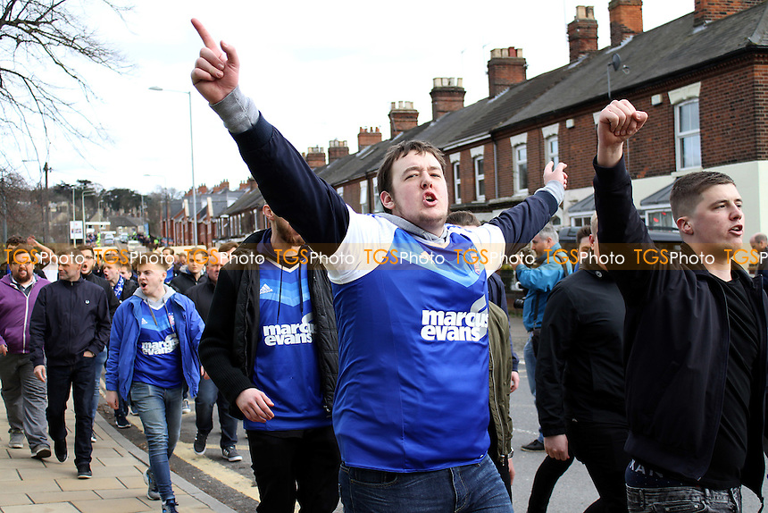 Ipswich fans on the way to the game during Norwich City vs Ipswich Town, Sky Bet EFL Championship Football at Carrow Road on 26th February 2017