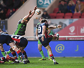 23rd March 2018, Ashton Gate, Bristol, England; RFU Rugby Championship, Bristol versus Yorkshire Carnegie; Rhodri Williams of Bristol box kicks as Richard Beck of Yorkshire Carnegie tries to charge the kick down