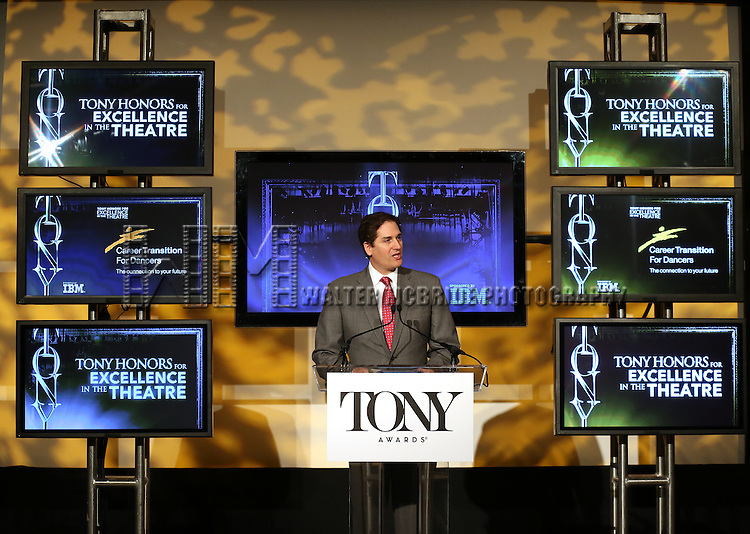 Nick Scandalios (Chairman, The Broadway League) announces the 2013 Tony Award Nominations at The New York Public Library for Performing Arts in New York on 4/30/2013...