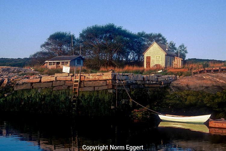 Boat docked on Damariscove Island, Maine