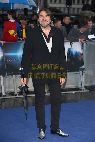 Jonathan Ross<br /> 'Man Of Steel' UK film premiere, Empire cinema, Leicester Square, London, England. <br /> 12th June 2013<br /> full length black suit umbrella <br /> CAP/PL<br /> &copy;Phil Loftus/Capital Pictures
