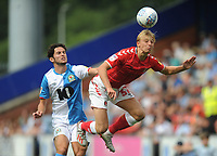Charlton Athletic's George Lapslie vies for possession with Blackburn Rovers' Lewis Travis<br /> <br /> Photographer Kevin Barnes/CameraSport<br /> <br /> The EFL Sky Bet Championship - Blackburn Rovers v Charlton Athletic - Saturday 3rd August 2019 - Ewood Park - Blackburn<br /> <br /> World Copyright © 2019 CameraSport. All rights reserved. 43 Linden Ave. Countesthorpe. Leicester. England. LE8 5PG - Tel: +44 (0) 116 277 4147 - admin@camerasport.com - www.camerasport.com