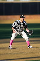 Wake Forest Demon Deacons third baseman Justin Yurchak (20) on defense against the Virginia Tech Hokies in game two of a doubleheader at Wake Forest Baseball Park on March 7, 2015 in Winston-Salem, North Carolina.  (Brian Westerholt/Four Seam Images)