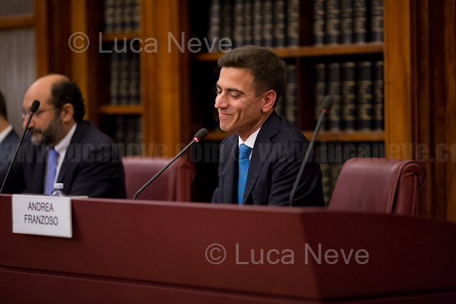 Andrea Franzoso.<br /> <br /> Rome, 12/10/2017. Today, the Senate of the Italian Republic held the presentation of &quot;Il Disobbediente&quot; (&quot;The Disobedient&quot;), a new book penned by the whistleblower Andrea Franzoso, who also co-hosted the event. The book has just been released by publishers Paper First, Societ&aacute; Editoriale il Fatto Publications. The event was introduced by the President of the Italian Senate, Pietro Grasso (Former Anti-mafia Magistrate) and co-hosted, alongside the book's author, by Marco Lillo (Journalist, Author &amp; Director of Paper First), Milena Gabanelli (Independent Investigative Journalist &amp; television host), and Raffaele Cantone (Former Anti-mafia Magistrate &amp; President of the Anti-corruption National Authority).<br /> In 2015, Andrea Franzoso, 40, was working as an official of the Ferrovie Nord (&quot;[...] an Italian transport company, part of the FNM Group, that manages the network of regional railway concessions owned by the group in northern Italy [...]&quot; - Source: Wikipedia.org) when he unveiled a scandal involving, allegedly, &quot;crazy expenses&quot; (about 600.000 Euros) made by the President of the Company, Norberto Achille, who was alleged to have used public money for personal business. Franzoso attempted at first to disclose the apparent ongoing wrongdoings at the company internally, but was told to &quot;Lascia Stare&quot; (leave it / give up)...<br /> The Caption continues on the PDF files at the beginning of this reportage.<br /> <br /> For a video &amp; more information please click here: http://bit.ly/2xBbQKv &amp; http://bit.ly/2hFo761