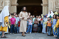 Palm Sunday Re-enactment of events in the life of Jesus, by the group called Luna LLena (Full Moon), a group of volunteers in Antigua, Guatemala.