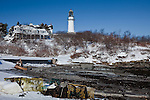 Cape Elizabeth Light in Twin Lights State Park, Cape Elizabeth, Greater Portland, ME, USA