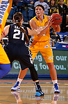 BROOKINGS, SD - NOVEMBER 14:  Kerri Young #10 from South Dakota State University looks for a teammate as Lexi Eaton #21 from Brigham Young defends in the first half of their game Friday night at Frost Arena.  (Photo by Dave Eggen/Inertia)