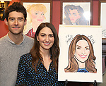 Drew Gehling and Sara Bareilles attend the Sardi's Portrait unveiling for Sara Bareilles  at Sardi's Restaurant on April 3, 2018 in New York City.