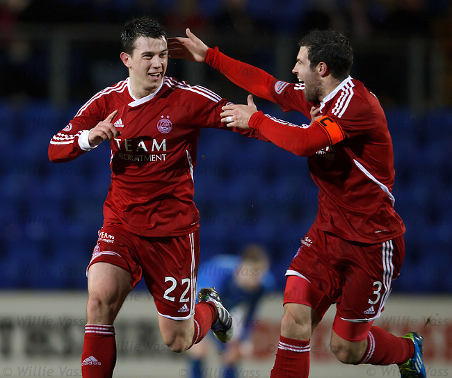 Ryan Jack celebrates his long range goal with Richard Foster