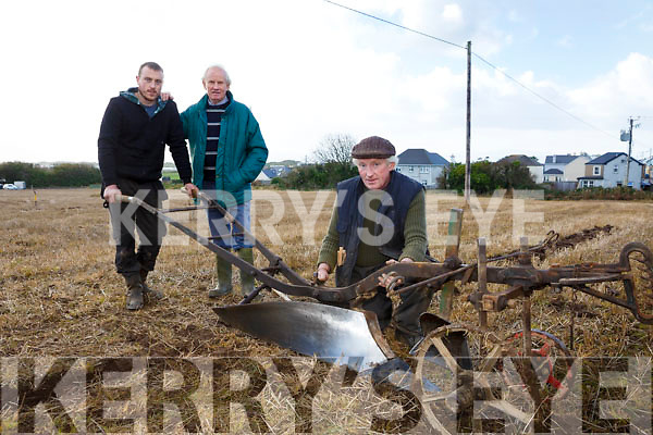 Shamus Trant, Vincent Crean and Moss Trant at the Ballyheigue's ploughing match at  the Rectory field, Buncurrig on Sunday