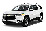 2018 Chevrolet Traverse 1LT 5 Door SUV angular front stock photos of front three quarter view