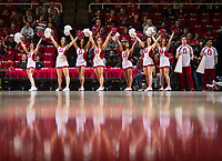 STANFORD, CA - January 26, 2019: Cheerleaders at Maples Pavilion. The Stanford Cardinal defeated the Colorado Buffaloes 75-62.