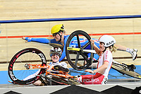 Picture by SWpix.com - 02/03/2018 - Cycling - 2018 UCI Track Cycling World Championships, Day 3 - Omnisport, Apeldoorn, Netherlands - Woman's Omnium Scratch Race - Daria Pikulik of Poland, Gudrun Stock of Germany and Jarmila Marchacova of Czech Republic all crash