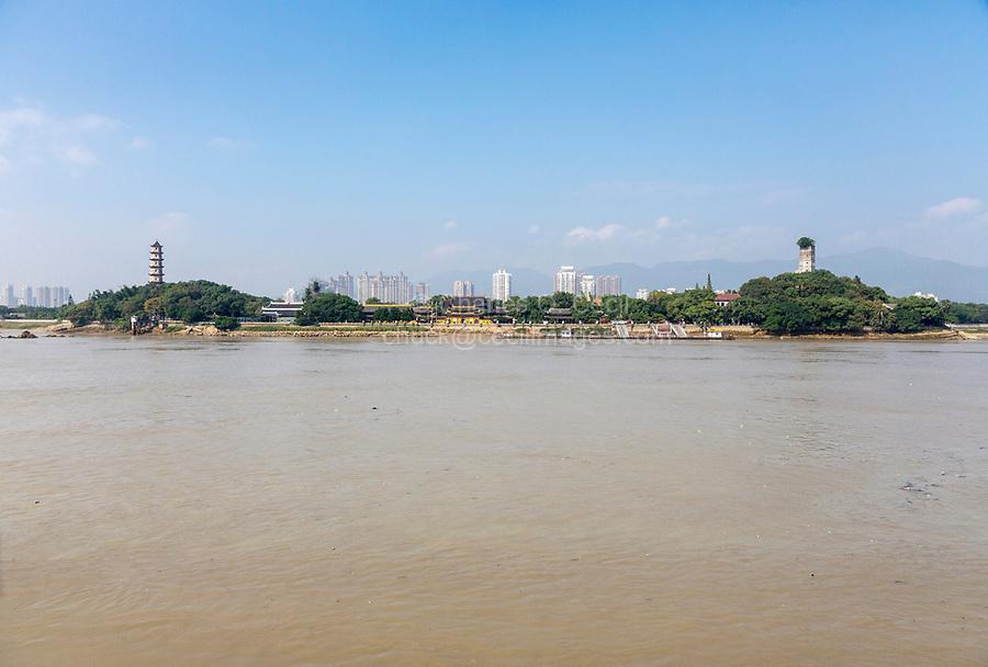 Wenzhou, Zhejiang, China.  Jiangxin Island, Oujiang River.