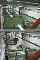 September 6, 2011, Naharamachi, Japan - Ventilation and air-conditioning system is submerged, top, as the Unit 3 turbine building is inundated at the Fukushima No. 2 nuclear power plant in Narahamachi, Fukushima Prefecture, some 12km south of the troubled No. 1 plant, on March 19, 2011, more than a week after an earthquake and ensuing tsunami hit. The same floor is shown in bottom photo taken on August 26. Tokyo Electric Power Co., the operator of the crippled power station, released on September 6 before-and-after photos of the plant. (Photo by TEPCO/AFLO) [0006] -mis-
