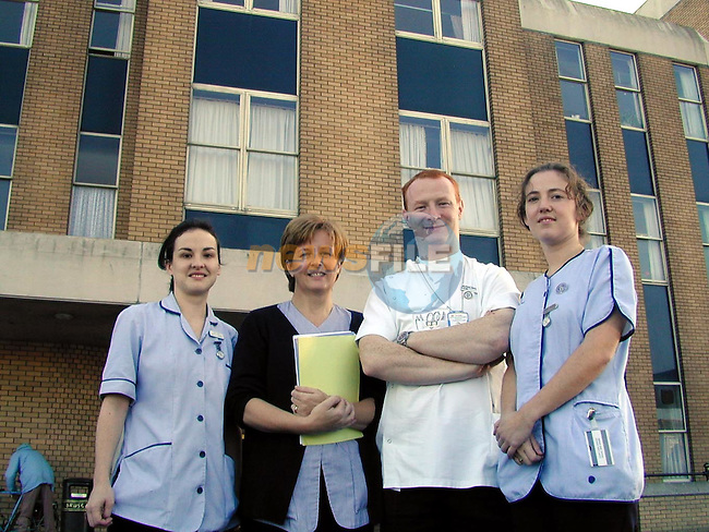 Back at work Anita Conway, Ann Kerbey, Paul Boyle and Edel O'Leary, after the picker were taken off the hospitals last night.Pic Fran Caffrey Newsfile