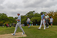 Jim Furyk (USA), Tony Finau (USA), and Matt Kuchar (USA) make their way down 2 during day 2 of the Valero Texas Open, at the TPC San Antonio Oaks Course, San Antonio, Texas, USA. 4/5/2019.<br /> Picture: Golffile | Ken Murray<br /> <br /> <br /> All photo usage must carry mandatory copyright credit (&copy; Golffile | Ken Murray)