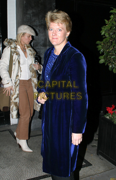 CLAIRE BALDING.Seabiscuit UK Charity Premiere, Warner Village Leicester Square & Champagne Reception at Park Lane Hotel.blue velvet coat.www.capitalpictures.com.sales@capitalpictures.com.© Capital Pictures.