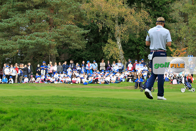 Sam Burns (USA) on the 17th green during Day 2 Singles for the Junior Ryder Cup 2014 at Blairgowrie Golf Club on Tuesday 23rd September 2014.<br /> Picture:  Thos Caffrey / www.golffile.ie