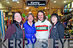 Sarah Clinton, Eileen Daly and Aoife Smith pictured with hill running legend John Lenihan who officially opened their Kerry Outdoor Sports shop in the Killarney Outlet Centre on Saturday afternoon.......
