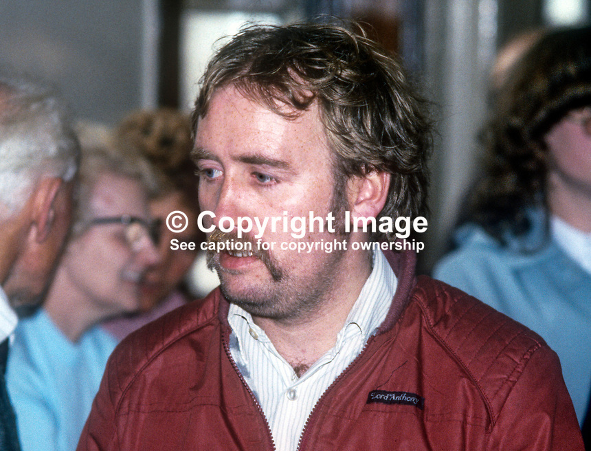 Fra McCann, candidate, Lower Falls, Provisional Sinn Fein, local government elections, N Ireland, May, 1985, 198505000155<br /><br />Copyright Image from Victor Patterson, 54 Dorchester Park, <br />Belfast, UK, BT9 6RJ<br /><br />t1: +44 28 9066 1296 (from Rep of Ireland 048 9066 1296)<br />t2: +44 28 9002 2446 (from Rep of Ireland 048 9002 2446)<br />m: +44 7802 353836<br /><br />victorpatterson@me.com<br />www.victorpatterson.com<br /><br />Please see my Terms and Conditions of Use at VICTORPATTERSON.COM. It is IMPORTANT that you familiarise yourself with them.<br /><br />Images used on the Internet must be visibly watermarked i.e. &copy;VICTORPATTERSON.COM within the body of the image and copyright metadata must not be deleted. Images used on the Internet have a size restriction of 4kbs and are chargeable at the then current NUJ rates.<br /><br />This image is only available for the use of the download recipient i.e. television station, newspaper, magazine, book publisher, etc, and must not be passed on to any third party. It is also downloaded on condition that each and every usage is notified within 7 days to victorpatterson@me.com<br /><br />The right of Victor Patterson to be identified as the author is asserted in accordance with The Copyright Designs And Patents Act (1988).