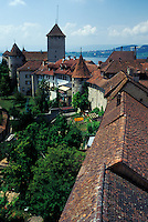 aerial, Fribourg, Switzerland, Aerial view of the rooftops of the medieval ramparts surrounding the town of Murten/Morat.