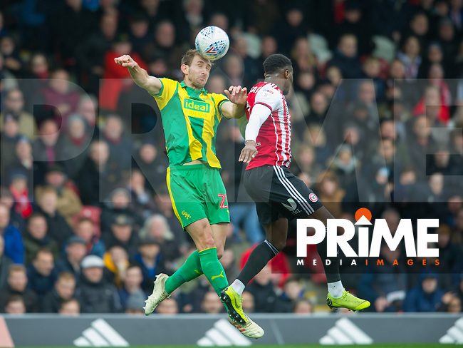 WBA's Craig Dawson during the Sky Bet Championship match between Brentford and West Bromwich Albion at Griffin Park, London, England on 16 March 2019. Photo by Andrew Aleksiejczuk / PRiME Media Images.