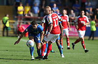 Wimbledon's Tyler Garrett and Fleetwood Town's Paddy Madden<br /> <br /> Photographer Stephen White/CameraSport<br /> <br /> The EFL Sky Bet League One - Fleetwood Town v AFC Wimbledon - Saturday 4th August 2018 - Highbury Stadium - Fleetwood<br /> <br /> World Copyright &copy; 2018 CameraSport. All rights reserved. 43 Linden Ave. Countesthorpe. Leicester. England. LE8 5PG - Tel: +44 (0) 116 277 4147 - admin@camerasport.com - www.camerasport.com