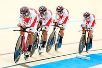 Picture by Alex Whitehead/SWpix.com - 10/12/2017 - Cycling - UCI Track Cycling World Cup Santiago - Velódromo de Peñalolén, Santiago, Chile - Japan's Shunsuke Imamura, Ryo Chikatani, Shogo Ichimaru and Keitaro Sawada win Silver in the Men's Team Pursuit final.