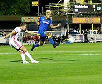 AFC Wimbledon's Lyle Taylor tries to block the clearance during the Sky Bet League 1 match between AFC Wimbledon and MK Dons at the Cherry Red Records Stadium, Kingston, England on 22 September 2017. Photo by Carlton Myrie / PRiME Media Images.