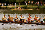 "Students. Oxford University Rowing Clubs Eights Week. Rowing races on the River Isis Oxford. (actually the River Thames). Summer Eights is a ""bumps race"" intercollegiate rowing regatta takes place end of May in Trinity Term. 1995. 1990s UK"
