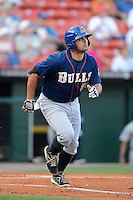 Durham Bulls designated hitter Vince Belnome #34 during a game against the Buffalo Bisons on June 24, 2013 at Coca-Cola Field in Buffalo, New York.  Durham defeated Buffalo 7-1.  (Mike Janes/Four Seam Images)