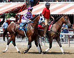 Honorable Treasure (no. 3) wins Race 3, Aug. 25, 2018 at the Saratoga Race Course, Saratoga Springs, NY.  Ridden by  Brian Hernandez, Jr., and trained by Kenneth McPeek Honorable Treasure finished 4 lengths in front of Fixedincome Larry (No. 2).  (Bruce Dudek/Eclipse Sportswire)