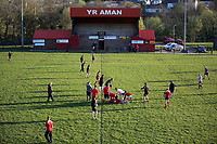 FAO STEWART HUNTER, DAILY MAIL SPORTS PICTURE DESK<br />Pictured: Players train at Amman United RFC in Cwmamman, Wales, UK. Thursday 13 April 2017<br />Re: Former Wales international rugby player Shane Williams is to make another comeback as part of the Amman United team that contests a final at the Principality Stadium in Cardiff on Saturday.<br />40 year old Williams, Wales' record try scorer has been named in his local village side that will take on Caerphilly in the National Bowl final, having recovered from a fractured jaw in the semi-final win against Cardigan after almost five years since Williams last played for the Barbarians against Wales.<br />He retired from the Test scene after a defeat to Australia in 2011, immediately after Wales had reached the semi-final of the World Cup of that year.