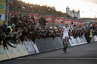 Winner Mathieu Van Der Poel (NED/Beobank Corendon) finishing .<br /> <br /> Elite Men's Race<br /> UCI CX World Cup Zolder / Belgium 2017