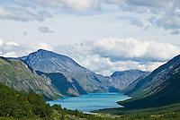 Lake Gjende on a sunny summer day, Jotunheimen national park, Norway