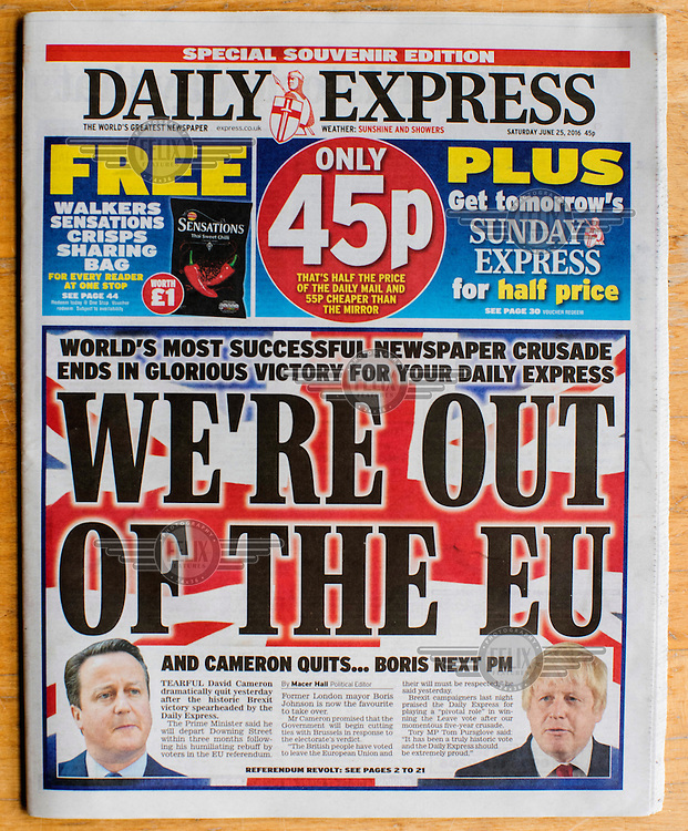 The front cover of the Eurosceptic tabloid, The Express, on 25 June 2016, two days after the EU referendum. The Express supported the Leave (the EU) side during the campaign leading up to the vote.
