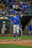 Austin Barnes (10) of the Oklahoma City Dodgers at bat against the Salt Lake Bees at Smith's Ballpark on July 31, 2019 in Salt Lake City, Utah. The Dodgers defeated the Bees 5-3. (Stephen Smith/Four Seam Images)