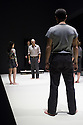 London, UK. 08.04.2014. A VIEW FROM THE BRIDGE, by Arthur Miller, opens at the Young Vic. Directed by Ivo Van Hove, design and light by Jan Versweyveld and costumes by An D'Huys. Picture shows: Phoebe Fox (Catherine), Jonah Russell (Officer), Mark Strong (Eddie), Richard Hansell (Louis) and Nicola Walker (Beatrice). Photograph © Jane Hobson.