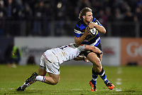 Max Clark of Bath Rugby is tackled in possession. Anglo-Welsh Cup match, between Bath Rugby and Leicester Tigers on November 10, 2017 at the Recreation Ground in Bath, England. Photo by: Patrick Khachfe / Onside Images