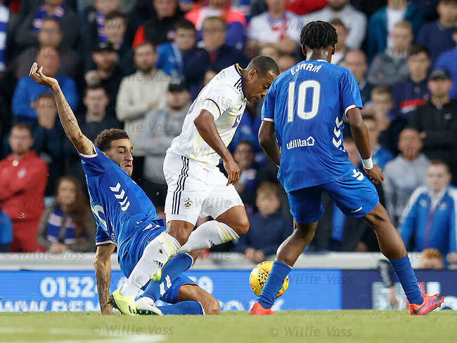 09.08.18 Rangers v Maribor: Connor Goldson tackles Marcos Tavares