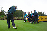 Henrik Stenson tees off while his other team members watch on during Practice Day at the 2006 Ryder Cup at The K Club 20th September 2006..Photo: Eoin Clarke/Newsfile.