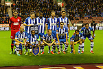 Wigan Athletic 1 Rubin Kazan 1, 24/10/2013. DW Stadium, Europa League Group D. Wigan Athletic embark on their first European campaign having won the FA Cup the previous season. The DW Stadium is temporarily known as The Wigan Athletic Stadium for Europa League fixtures. Wigan line up for the photographers as is traditional at European fixtures.  Photo by Paul Thompson.