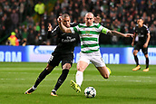 12th September 2017, Glasgow, Scotland; Champions League football, Glasgow Celtic versus Paris Saint Germain;  KYLIAN MBAPPE (psg) challenges Scott Brown (cel)