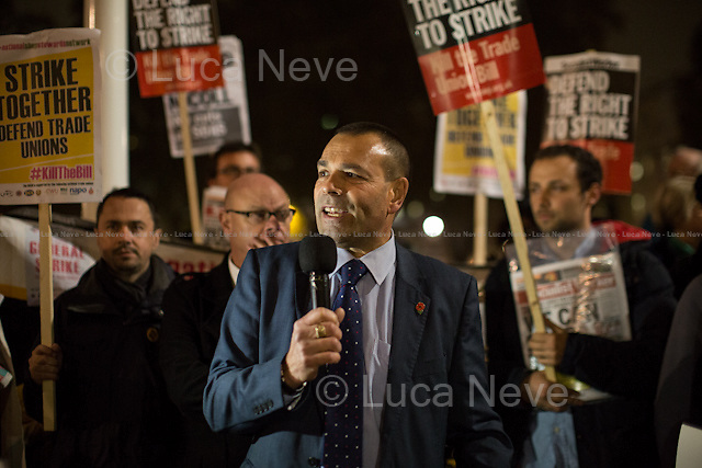 Ian Lawrence (General Secretary at Probation and Family Courts, NAPO).<br /> <br /> London, 02/11/2015. Today, the Trade Union Co-ordinating Group (TUCG), supported by Right to Strike, Unite the Resistance and the National Shop Stewards Network (NSSN), held a demonstration in Parliament Square to protest against the Government's Trade Union Bill &quot;which will reform the current framework of trade union law&quot; (For a PDF version of the Bill please click here: http://www.publications.parliament.uk/pa/bills/cbill/2015-2016/0058/16058.pdf). The Trade Union Co-ordinating Group includes: Bakers Food and Allied Workers Union (BFAWU), Fire Brigades Union (FBU), Probation and Family Courts (NAPO), National Union of Journalists (NUJ), National Union of Teachers (NUT), Public and Commercial Services Union (PCS), Prison Officers Association (POA), National Union of Rail, Maritime and Transport Workers (RMT), United Road Transport Union (URTU).<br />  <br /> For more information please click here: http://on.fb.me/1HnpfzI &amp; http://bit.ly/1iyLmwH