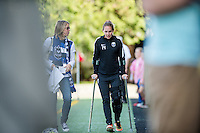 Seattle, WA - Sunday, May 22, 2016: Seattle Reign FC forward Manon Melis (14) prior to a regular season National Women's Soccer League (NWSL) match at Memorial Stadium. Seattle Reign FC forward Manon Melis (14) is recovering from injury.