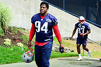 June 7, 2017: New England Patriots defensive end Kony Ealy (94) walks to practice at the New England Patriots mini camp held on the practice field at Gillette Stadium, in Foxborough, Massachusetts. Eric Canha/CSM