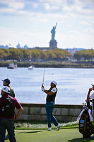 Jason Day (AUS) watches his approach shot on 14 during round 3 Foursomes of the 2017 President's Cup, Liberty National Golf Club, Jersey City, New Jersey, USA. 9/30/2017.<br /> Picture: Golffile | Ken Murray<br /> <br /> All photo usage must carry mandatory copyright credit (&copy; Golffile | Ken Murray)