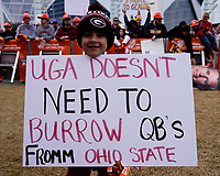 ATLANTA, GA - DECEMBER 7: Georgia fan at ESPN College Game day during a game between Georgia Bulldogs and LSU Tigers at Mercedes Benz Stadium on December 7, 2019 in Atlanta, Georgia.